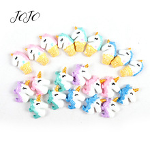 JOJO BOWS 10pcs Plastic Resin Patches Unicorn Pattern Accessories For Needlework DIY Hair Bows Material Headwear Decoration