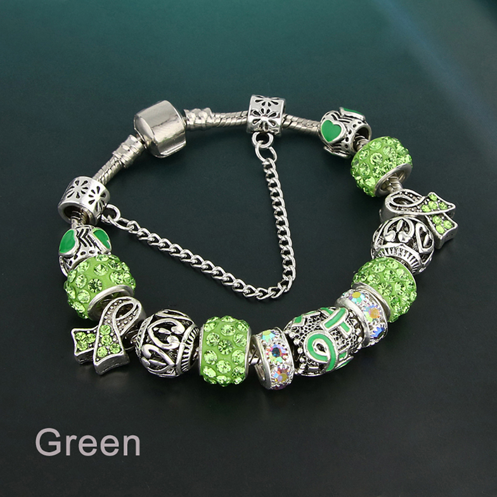 Glass Bead Charm Bracelet - green