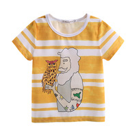Hot Sale Fashion Style Cartoon Print Yellow White Stripe Boy T-Short Shirt Baby Kids Clothes BT90315-12L