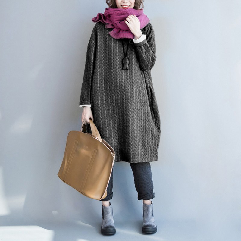 Celmia 2017 Winter Womens Crewneck Long Sleeve Baggy Casual Shift Dress Kaftan Solid Design Plain Robe