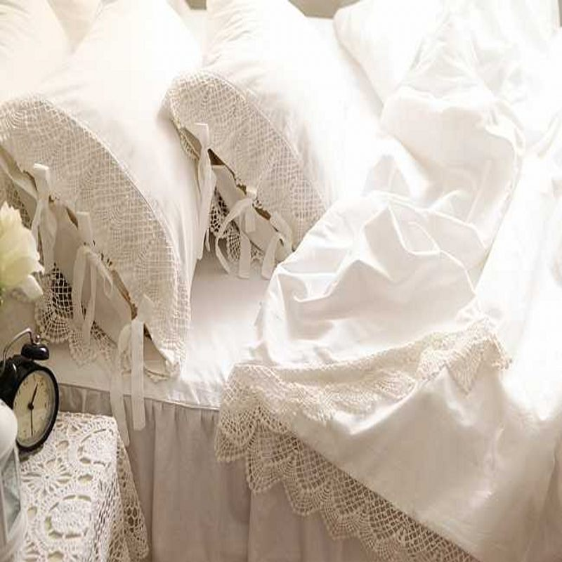 Online get cheap white ruffle comforter for Elegant white comforter sets