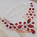 Luckyshine New Fashion Brand colar femininas Passionate Fire Red Garnet Handmade Xmas Gift Rhinestone Statement Necklace
