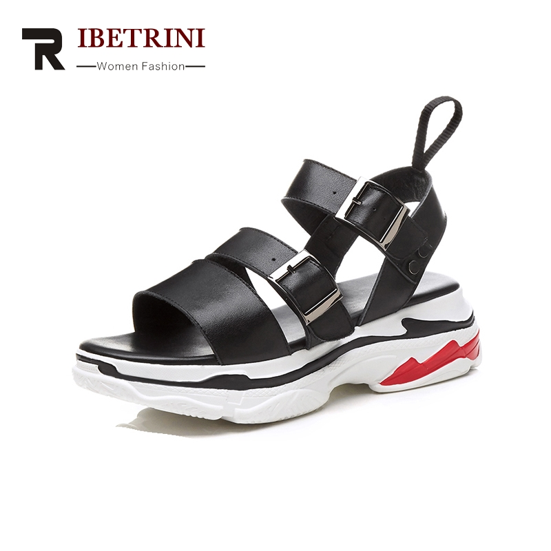 Brand Solid Donna Scarpe bianco Qualità New Genuino Casual Nero Fibbia Comodi Ribetrini Sandali Il Cinturino Estivi Cuoio Migliore yvm08ONwn