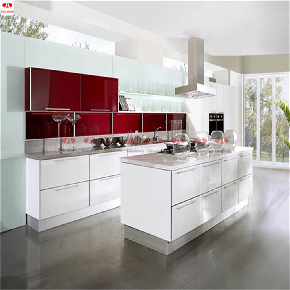 High Gloss Stainless Steel White Outdoor Kitchen Cabinets