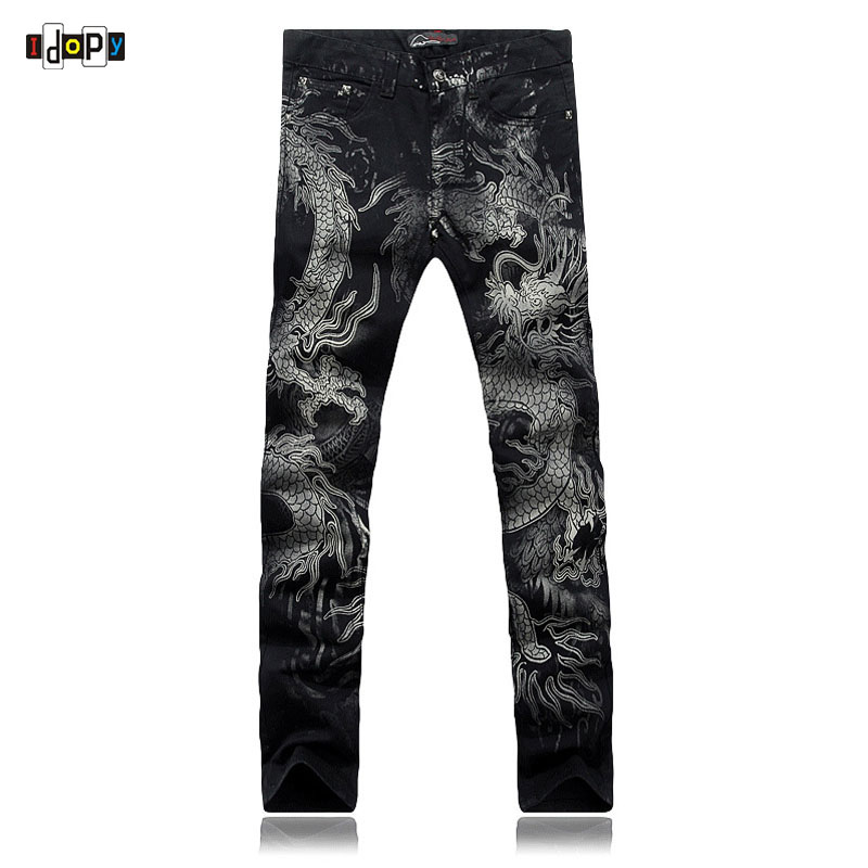 Cool Men`s Dragon Printed Jeans Black Painted Slim Fit ...