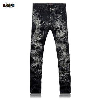 Cool pantalones vaqueros de dibujo de dragón para hombre Pantalones vaqueros de vaquero elástico ajustados pintados en negro para hombre al por mayor