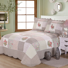 New Handmade Patchwork Quilt Set 3PCS 100% Cotton Bedspread American Floral Quilted Bed Cover Quilts King Size Coverlet