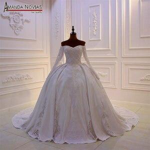 Image 1 - Mới thiết kế cô dâu váy làm cỏ dress satin với ren đầy đủ beading vạt áo