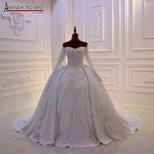 Nieuwe designer bridal wieden jurk satijn met kant volledige kralen lijfje