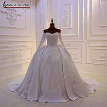 Novo designer vestido de noiva weeding vestido de cetim com renda completa miçangas corpete