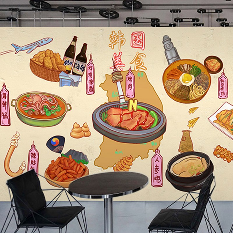 Us 11 46 30 Off Photo Wallpaper Cartoon Graffiti Wallpaper Sushi Cuisine Delicacy Fried Bar Imported Snack Shop Wallpaper Mural In Wallpapers From