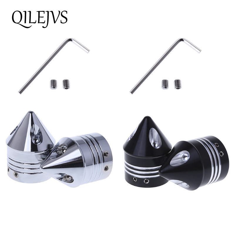 Clever 1 Pair Chrome Front Axle Nut Cover Cap For Harley Softail Dyna V-rod Touring Trike Silver / Black Motorcycle Styling To Have Both The Quality Of Tenacity And Hardness
