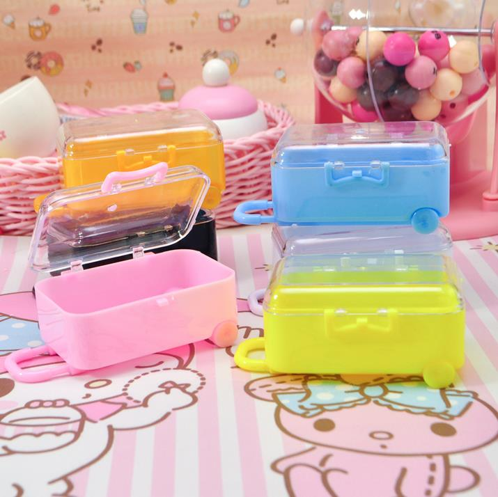 6 Clear Mini Rolling Travel Suitcase Favor Box Kids Birthday Favor Boxes Party Supplies  ...
