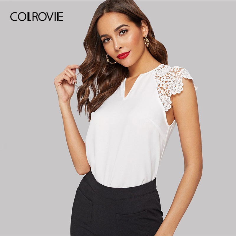 Sheinside White Elegant Hollowed Out Contrast Lace V-cut Blouse Women 2019 Summer Cap Sleeve Blouses Ladies Solid Chiffon Top Women's Clothing