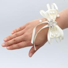 6piece/lot Ivory Wedding Wrist Band Bow Tie Pearl Accessories Free Shipping Corsage For Sister Dridesmaid Party SW017