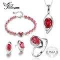 Jewelrypalace eye criado rubi anel brinco pulseira colar de pingente de 925 conjuntos de jóias de prata esterlina 2016 jóias finas
