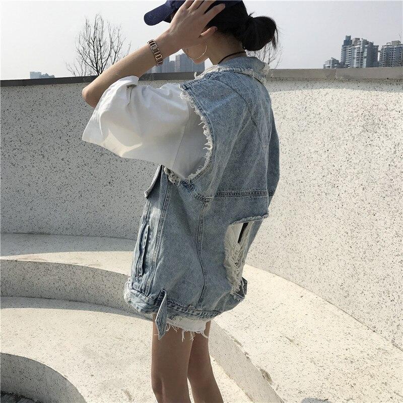 Alien Kitty Large Size Ärmellos Denim Loch Tops Jacke 2019 Frühjahr - Damenbekleidung - Foto 2