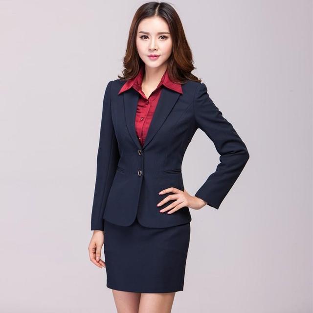fdfb3f61f9 Las mujeres por encargo Navy blazer con falda elegante otoño mujeres Trajes  con falda más tamaño