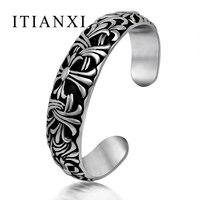 ITIANXI Retro Gothic Cross Iris Pattern Classic Cuff Bangle Fashion Noble Luxury Elegant Charm New Mode