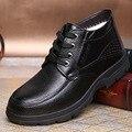 The new fashion boutique men's winter plus velvet warm men's cotton shoes leather casual shoes