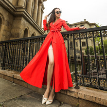 Female X-Long Red Trench Coats Autumn Women's Temperament Wi