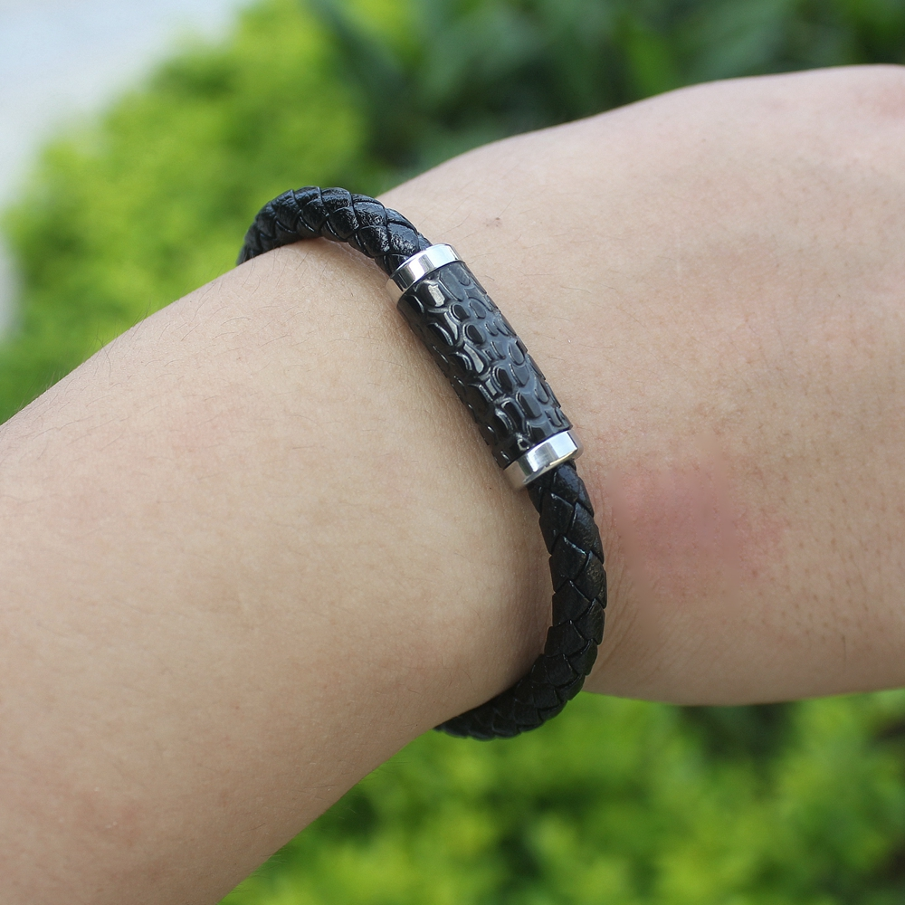 TYO Vintage Style Serpentine Accessories Black Genuine Leather Bracelet For Men fashion Birthday Party Gift Wholesale Jewelry