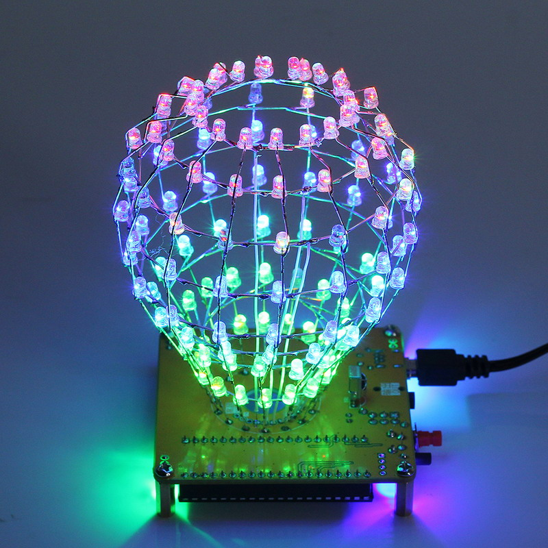 Dac Leory Diy Colored Ball Electronic Kit 3d Led Light Cube Kit 16x9 Led Music Spectrum Diy For Dac Mp3 For Diy Welding Enthusiast Accessories & Parts