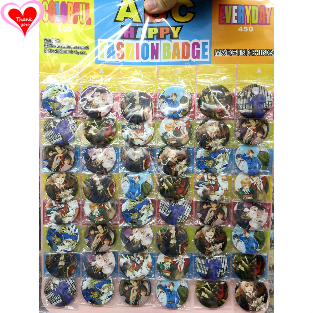 Love Thank You Hetalia: Axis Powers 45MM 16/24/32/40/48 pcs lot PIN BACK BADGE BUTTON BROOCH for BAG GIFT TOY CLOTH anime