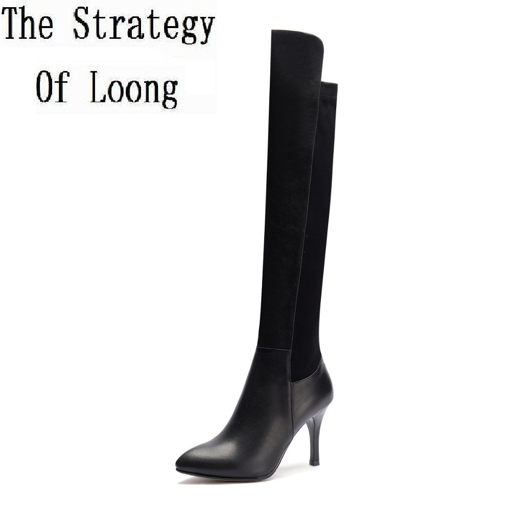 цены Women Genuine Leather Stretch Long Boots Winter Over The Knee Knight Boots Pointed Toe Lady Thin High Heels Boots Plus Size 42
