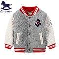 2015New Meninos Jacket winter & Autumn casaco para crianças Além de veludo outerwear casaco de algodão das crianças do bebê Meninos de roupas para o 2-10Y