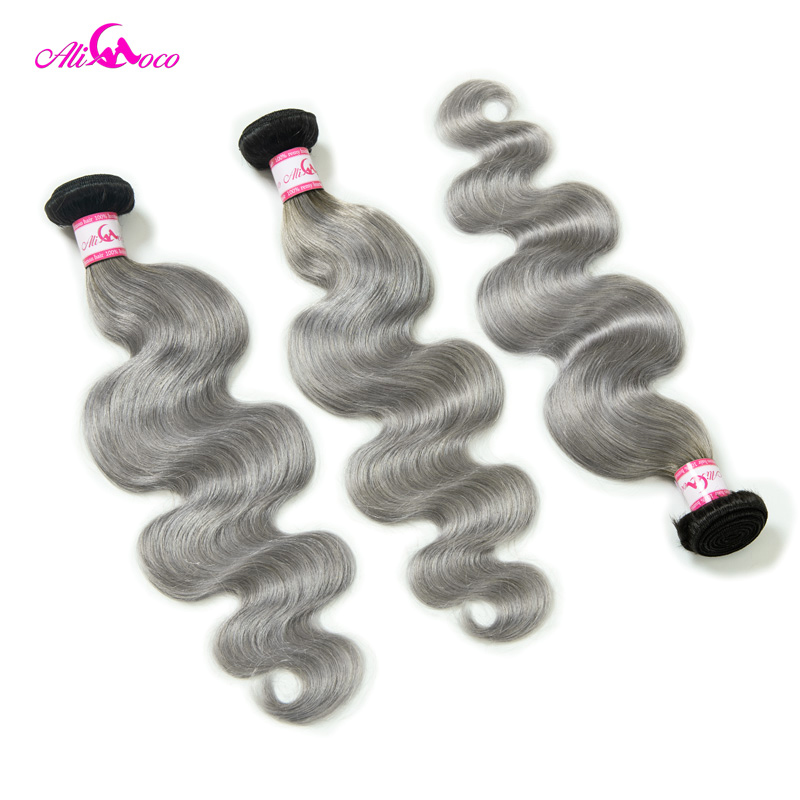 Ali Coco Brazilian Body Wave Hair 3 Bundles Deals 1B Grey Color 100 Human Hair Weave