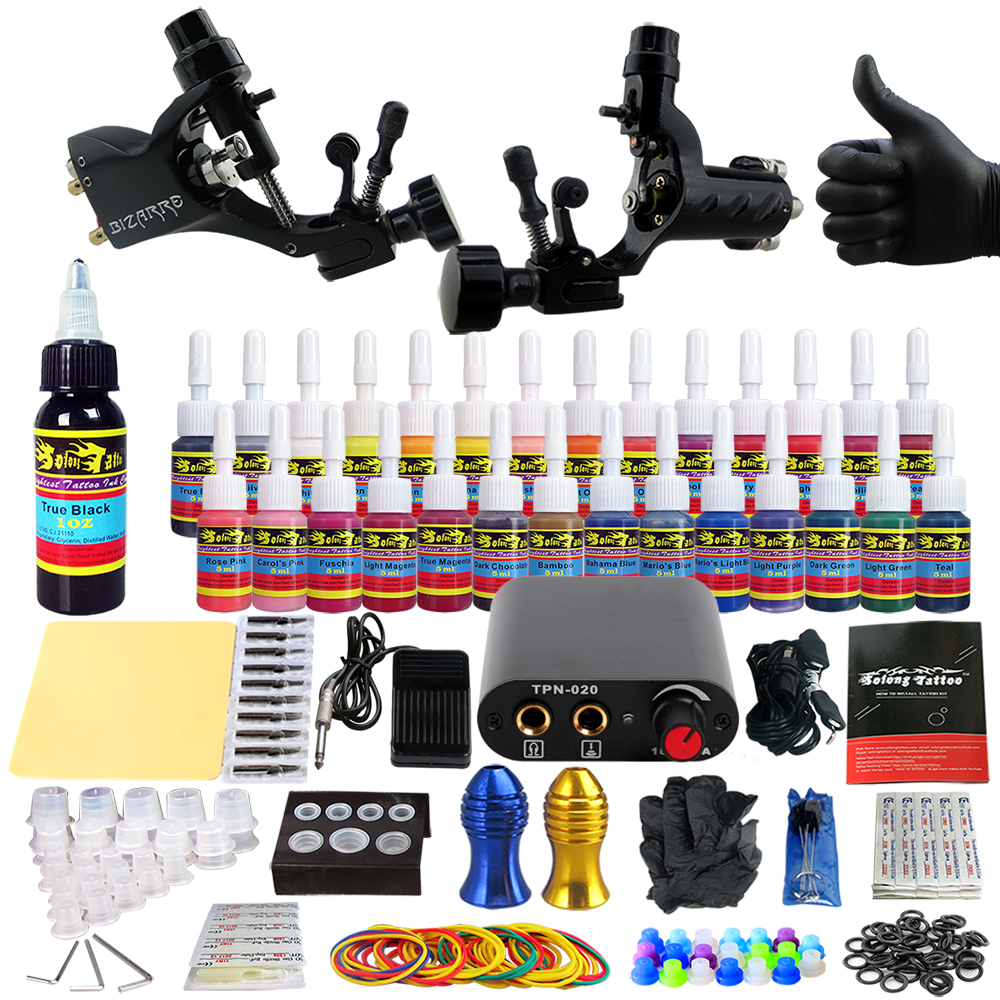 Solong Tattoo Starter Complete Tattoo Kit 2 Rotary Machines Guns 28 Immortal Inks Power Supply Needles Tips Tubes TK204-19 immortal unchained