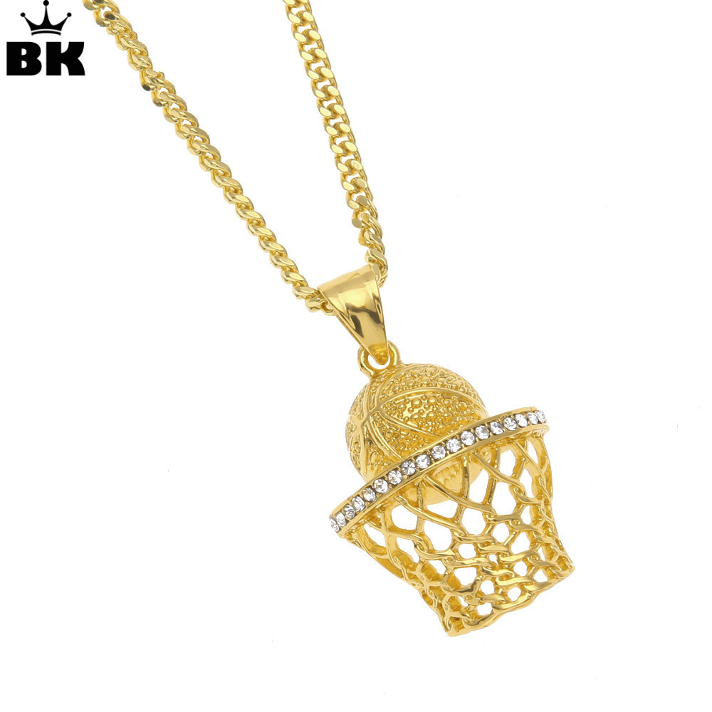 3D Basketball Hoop Pendants & Necklaces Hip Hop Gold Finish Sports Iced Out Rhinestone With 3mm 24inch Cuban Chain Drop Shipping