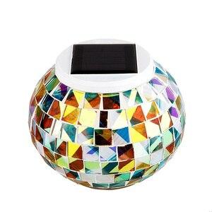 Image 2 - تعمل بالطاقة الشمسية فسيفساء كرة زجاجية مصابيح حديقة مقاوم للماء في الهواء الطلق أضواء الحديقة الشمسية الملونة تغيير ساحة شرفة مصابيح