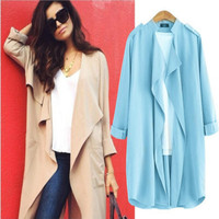 Fashion Women Blouses Solid Ruffled Long Sleeve Spring Thin Jacket Coats Casual Chiffon Shirts Blue Female