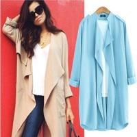 Fashion Women Blouses Solid Ruffled Long Sleeve Spring Thin Jacket Coats Casual Chiffon Shirts Blue Female