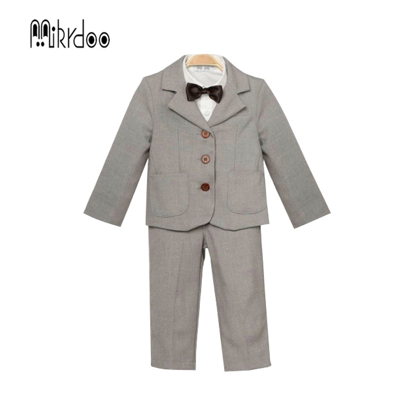 Baby boy clothes blazers gentleman suit infant tuexdo terno formal clothing set coat shirt vest pants wedding children costume kids clothing set plaid shirt with grey vest gentleman baby clothes with bow and casual pants 3pcs set for newborn clothes