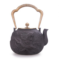 Handmade uncoated cast iron teapot Japanese boiling brewing water kettle health tea set Chinese puer tea pot ceremony 1.4L