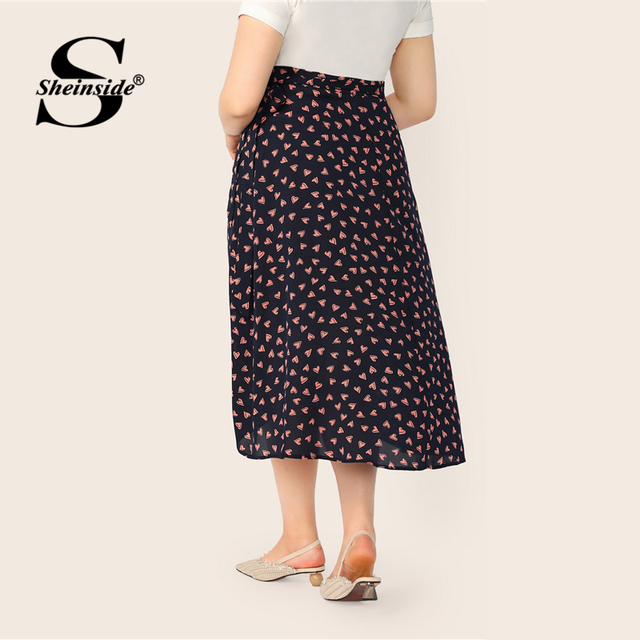 Sheinside Plus Size Heart Print Wrap Skirt Women 2019 Spring Boho Side Split A Line Skirts Ladies Casual Belted Skirt 1