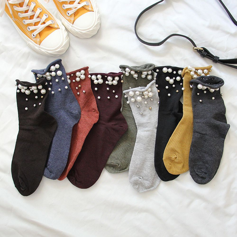 1 Pair Harajuku Style Women Solid Cotton Beaded Stripe Simulated Pearl Socks Soft High Autumn Winter Comfortable Socks