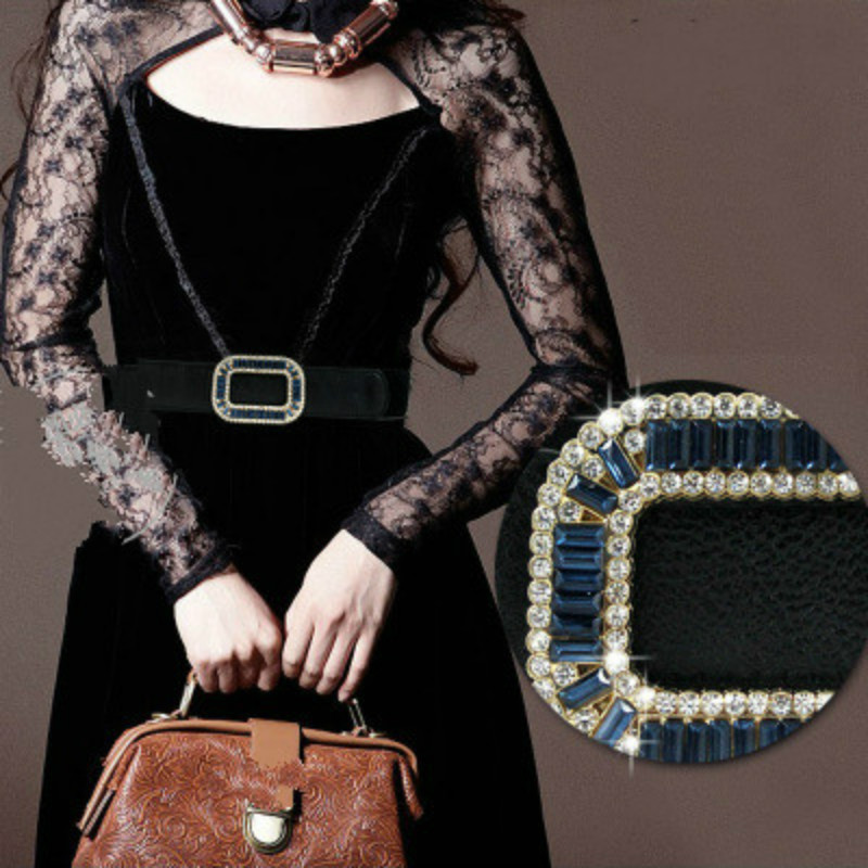 Joker RV Crystal Elastic Belt Woman Wide To Buckle Simple Slim Waist Sealing Fashion Decoration Match Woman Jacket 70*4CM