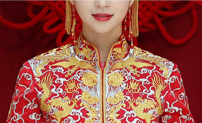 ラグジュアリー古代王室赤中国のウェディングドレス伝統的な花嫁の刺繍チャイナ女性オリエンタルドラゴンフェニックス袍パーティー