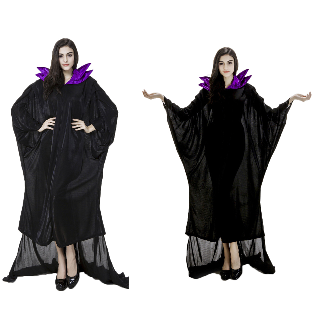 Black Maleficent Vampire Witch Queen Long Dresses Halloween Costumes Cosplay For Woman Party Cosplay  XL