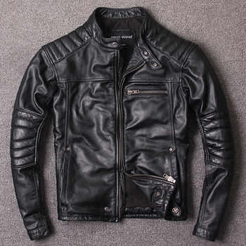 Free shipping.Plus size,Brand coat men vintage cowhide Jackets,men\'s genuine Leather casual jacket.homme Fitness sales