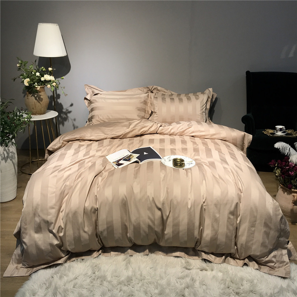 4 pieces luxury champagne gold bedding king size 100% Cotton bed ...