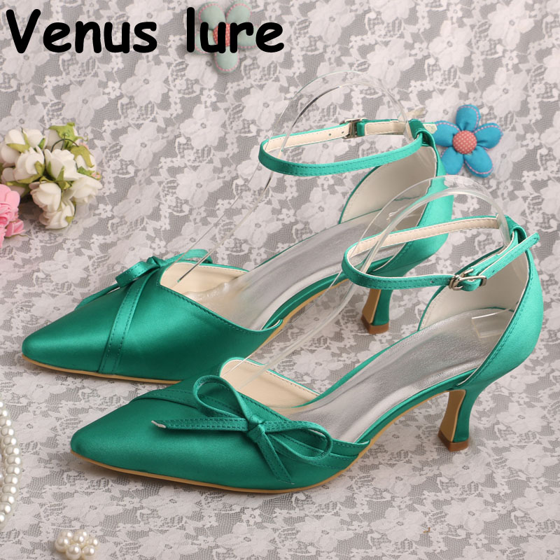 Ladies Pointed Toe Shoes 2018 Green Ankle Strap Pumps for Wedding Party Ladies Pointed Toe Shoes 2018 Green Ankle Strap Pumps for Wedding Party
