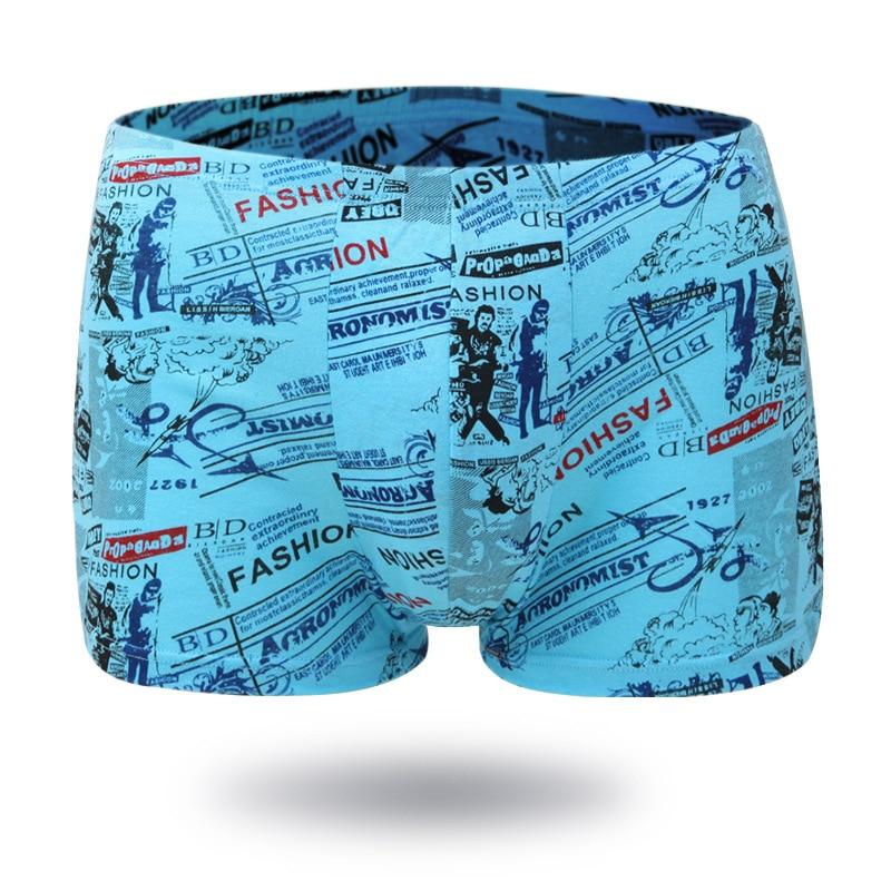 New Men Cotton Fashion Male Underwear Boxers Plus Size Middle-Waist Underpants Knitting Breathable Elasticity U Convex Boxers
