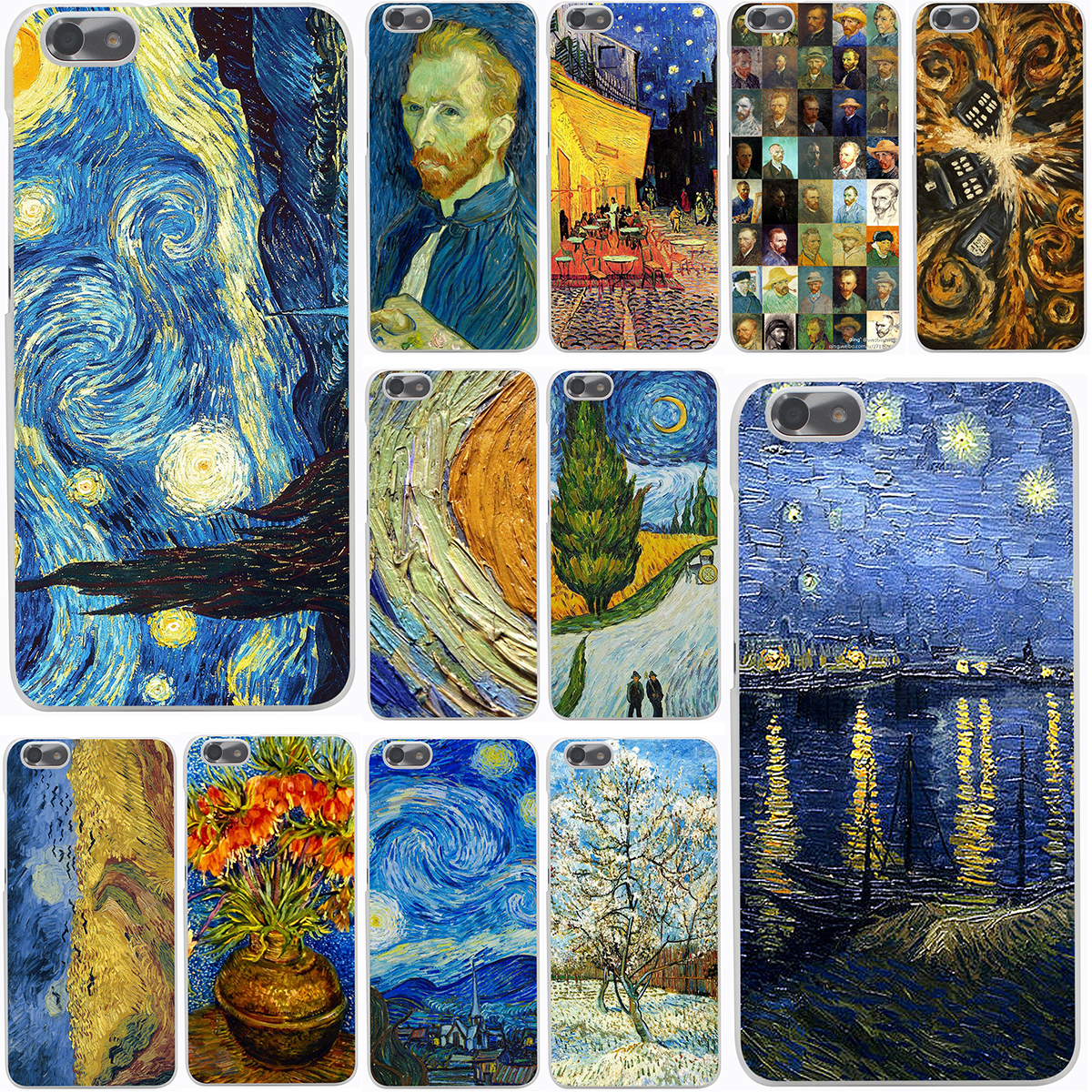 Van Gogh Tardis Harter Telefon-kasten für Huawei P10 P9 Plus P8 Lite...