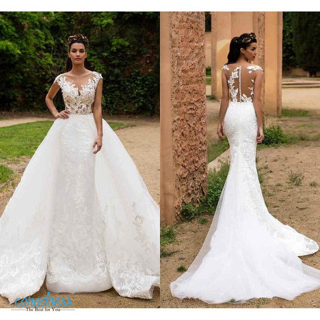2017 Arabic Lace Sheer Crew Neck Overskirts Wedding Dresses Milla Nova With Detachable Train Illusion Back