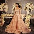Vestido de Noche Del Banquete de boda 2017 completo Mangas Champagne Encaje Vestido de Noche Largo Vestidos Formales CGE454